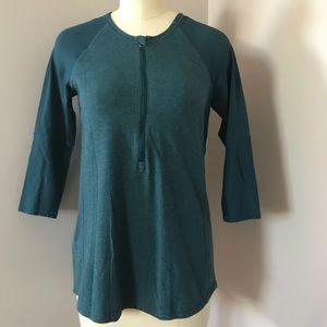Lululemon Teal 3/4 Sleeve 1/2 Zip Top Size 4